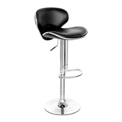 An Image of Duo Retro Black Faux Leather Bar Stool With Chrome Base