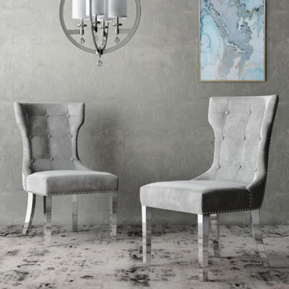 An Image of Berit Cloudy Grey Leather Dining Chair In A Pair With Silver Leg