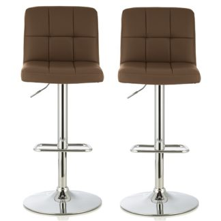An Image of Lesly Bar Stool In Cappuccino Faux Leather In A Pair
