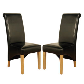An Image of Rocco Black PU Leather Dining Dining Chair In Pair