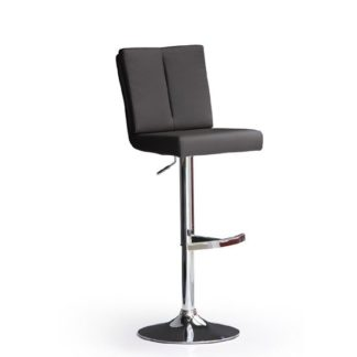 An Image of Bruni Black Bar Stool In Faux Leather With Round Chrome Base