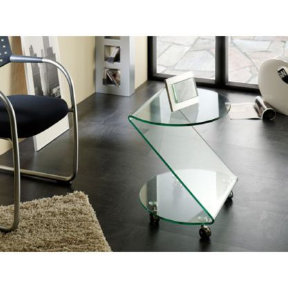 An Image of Matera Side Table In Clear Bent Glass With Wheels