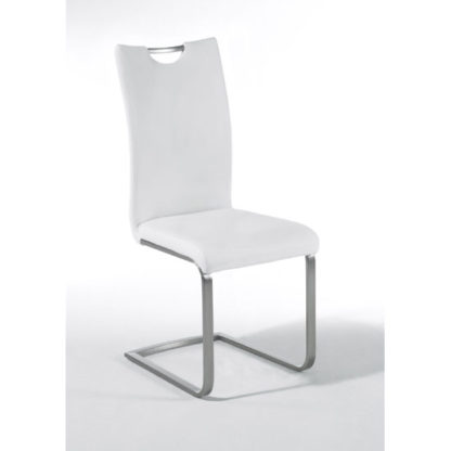 An Image of Paulo White Faux Leather Dining Chair With Handle Hole