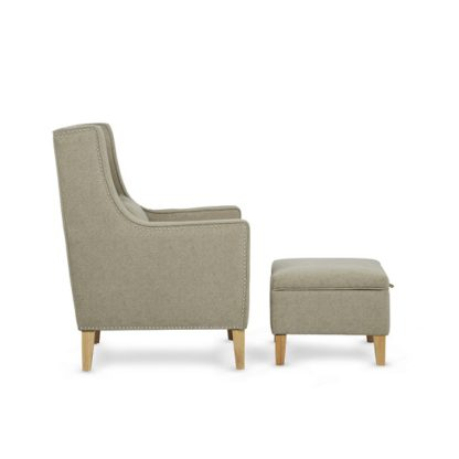 An Image of Hilton Fabric Lounge Chair With Foot Stool In Sage