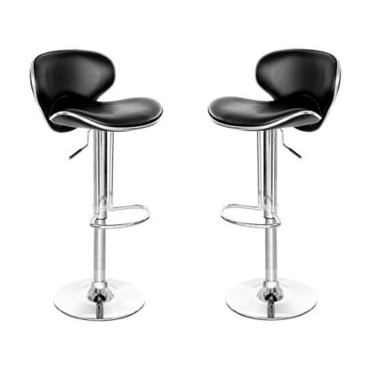 An Image of Duo Retro Black Leather Bar Stool In Pair