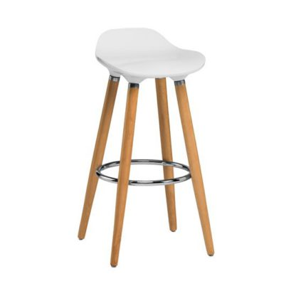 An Image of Adoni Bar Stool In White ABS With Natural Beech Wooden Legs