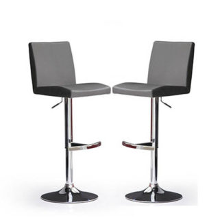 An Image of Lopes Bar Stools In Grey Faux Leather in A Pair