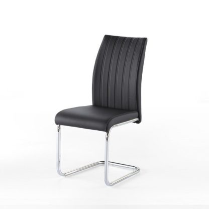 An Image of Riva Dining Chair In Black Faux Leather With Chrome Base