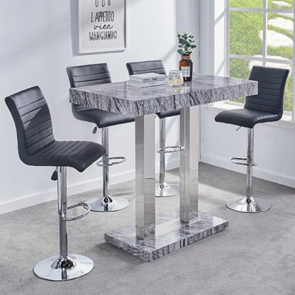 An Image of Melange Gloss Marble Effect Bar Table And 4 Ripple Black Stools