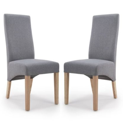 An Image of Baxter Steel Grey Linen Wave Back Dining Chair In A Pair