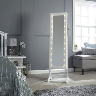 An Image of Amore LED Dressing Mirror In White With Jewellery Cabinet