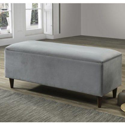 An Image of Emma Velvet Upholstered Storage Ottoman In Grey
