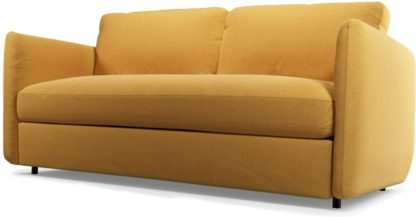 An Image of Custom MADE Fletcher 3 Seater Sofabed with Memory Foam Mattress, Yolk Yellow