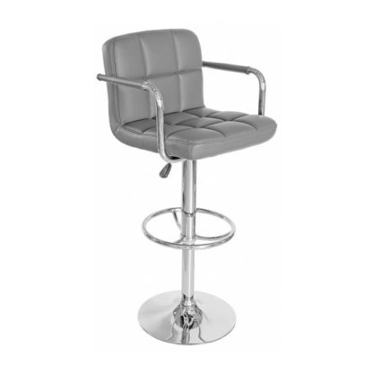 An Image of Coco Grey Faux Leather Bar Stool With Chrome Base