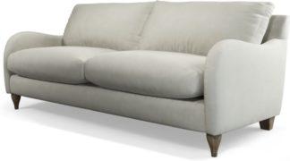 An Image of Custom MADE Sofia 3 Seater Sofa, Plush Silver Velvet with Light Wood Leg