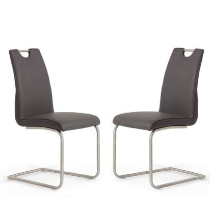 An Image of Harley Dining Chair In Grey Faux Leather In A Pair