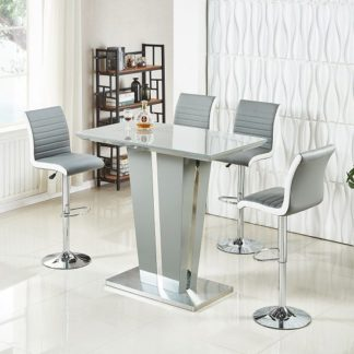 An Image of Memphis Glass Bar Table In High Gloss Grey And 4 Ritz Stools
