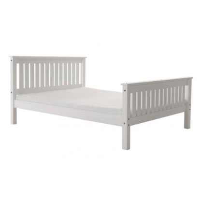 An Image of Manila High Footend Pine King Size Bed In White