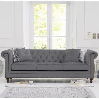An Image of Mentor Fabric 3 Seater Sofa In Grey Linen With Dark Ash Legs