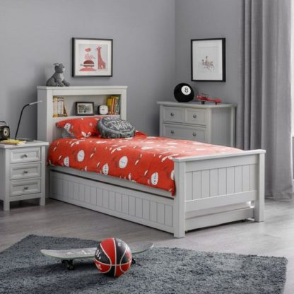 An Image of Cheshire Bookcase Bed With Underbed In Dove Grey Lacquer