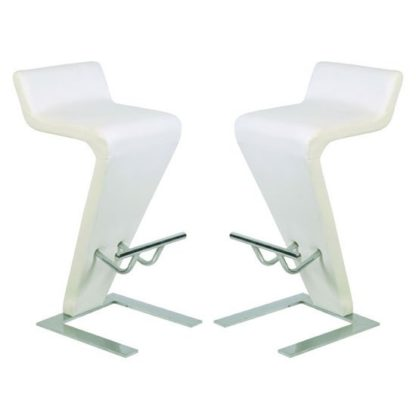 An Image of Farello Bar Stools In White Faux Leather in A Pair