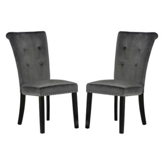 An Image of Wodan Velvet Dining Chair In Grey With Black Legs In A Pair