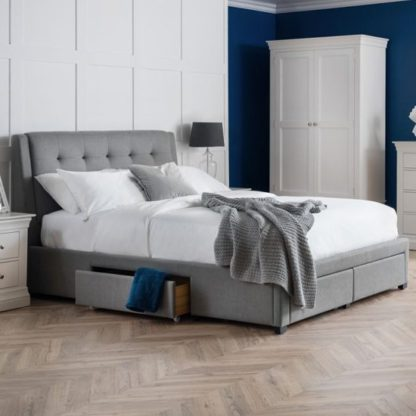 An Image of Fullerton Linen King Size Bed In Grey With 4 Storage Drawers