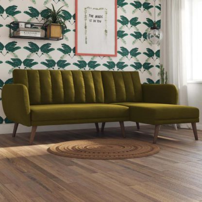An Image of Brittany Linen Sectional Sofa Bed In Green With Wooden Legs