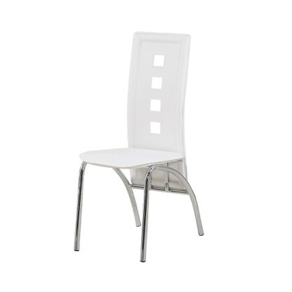An Image of Bellini Dining Chairs In White Faux Leather With Chrome Legs