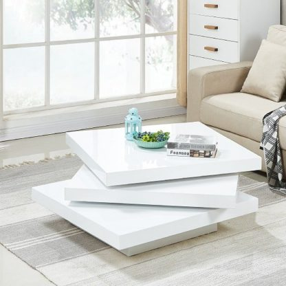An Image of Triplo Rotating Coffee Table Square In White High Gloss