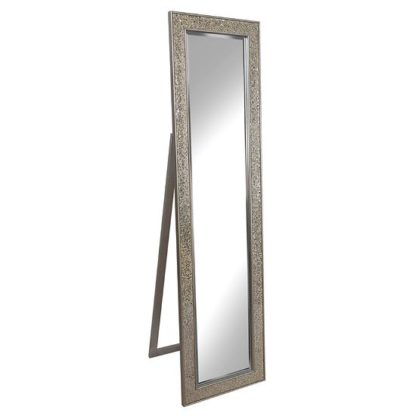 An Image of Aliza Floor Standing Cheval Mirror In Champagne Mosaic Frame