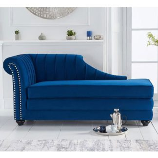 An Image of Laurn Velvet Left Facing Arm Lounge Chaise In Blue