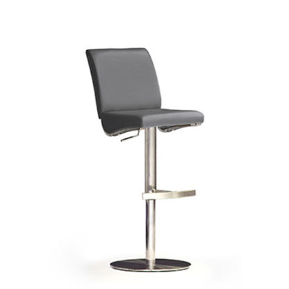 An Image of Diaz Grey Bar Stool In Faux Leather With Stainless Steel Base