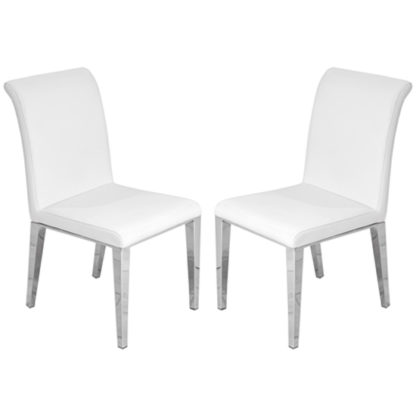 An Image of Kirkland White Leather Dining Chairs In Pair With Chrome Legs