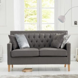 An Image of Bellard Fabric 2 Seater Sofa In Grey And Natural Ash Legs