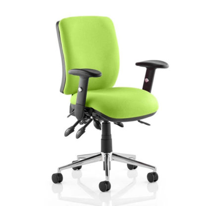 An Image of Chiro Medium Back Office Chair In Myrrh Green With Arms