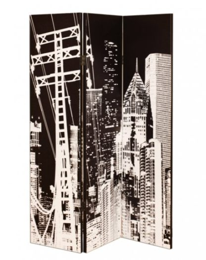 An Image of New york City Canvas Printed Room Divider In A Monotone Colour