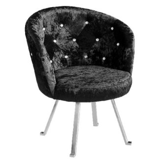 An Image of Tarent Leisure Chair In Black Crushed Velvet With Chrome Legs