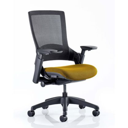 An Image of Molet Black Back Office Chair With Senna Yellow Seat