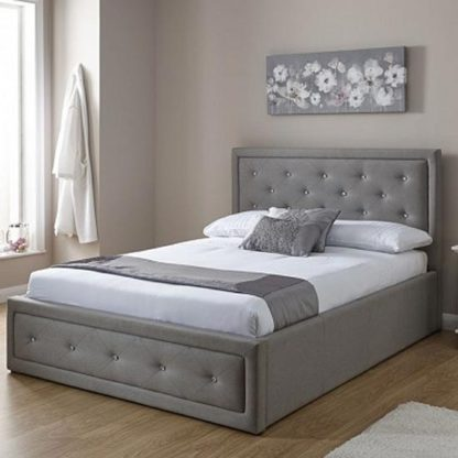 An Image of Hollywood Ottoman Fabric Double Bed In Stone