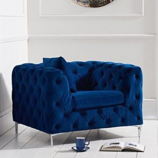 An Image of Berenices Velvet Lounge Chaise Armchair In Blue Plush