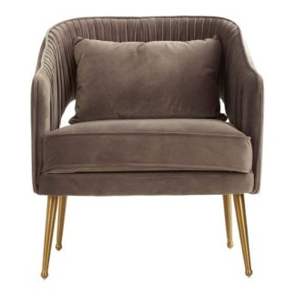 An Image of Agnetas Velvet Armchair In Grey With Gold Stainless Steel Legs