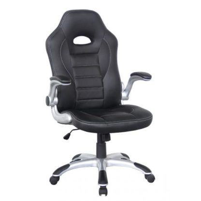 An Image of Witney Home Office Racing Chair In Black Faux Leather