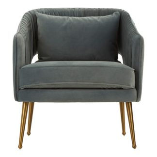 An Image of Agnetas Velvet Armchair In Blue With Gold Stainless Steel Legs