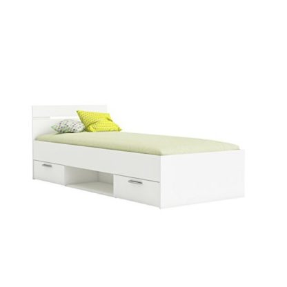 An Image of Astro Storage Single Bed In Pearl White With 2 Drawers