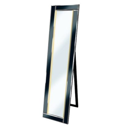 An Image of Bevelled Cheval Free Standing Mirror In Black With LED Lights