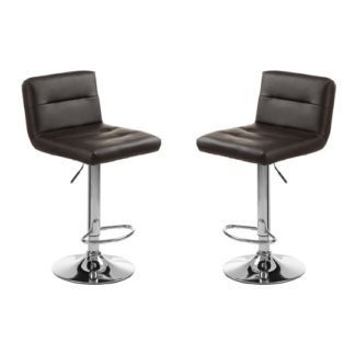 An Image of Baino Black Seat Bar Stool With Chrome Base In Pair