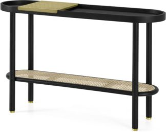 An Image of Ankhara Console Table, Black Stained Oak & Cane