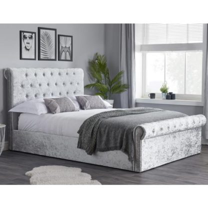 An Image of Sienna Side Fabric Double Bed In Steel Crushed Velvet