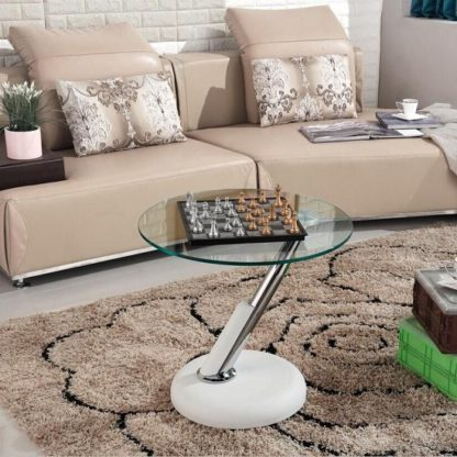 An Image of Tokyo Glass Lamp Table In Clear With White Leatherette Base